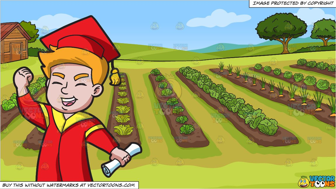 Vegetable field clipart clip free A Young Man Receiving His New School Degree and A Vegetable Garden  Background clip free