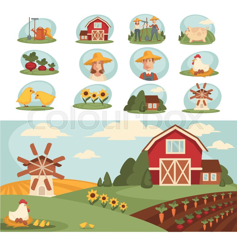 Vegetable field clipart vector banner freeuse stock Cozy farm with long vegetable beds, ... | Stock vector ... banner freeuse stock