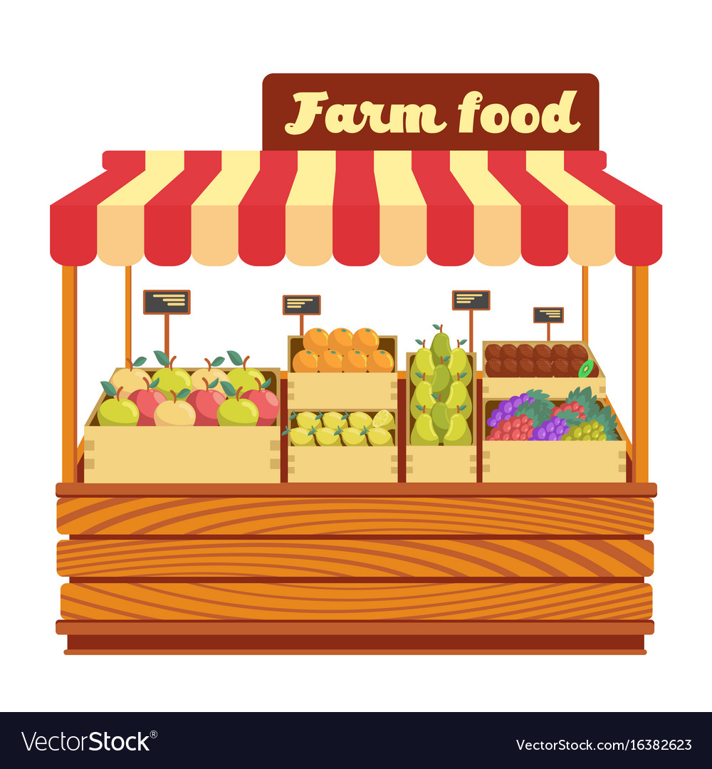 Vegetable stand clipart vector royalty free download Market wood stand with farm food and vegetables in vector royalty free download