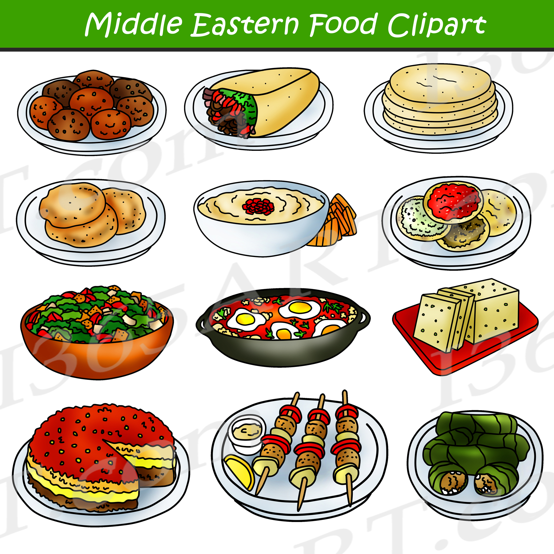 Vegetarian food images clipart clipart black and white download Middle Eastern Food Clipart - Arabic Food Clip Art Graphics clipart black and white download