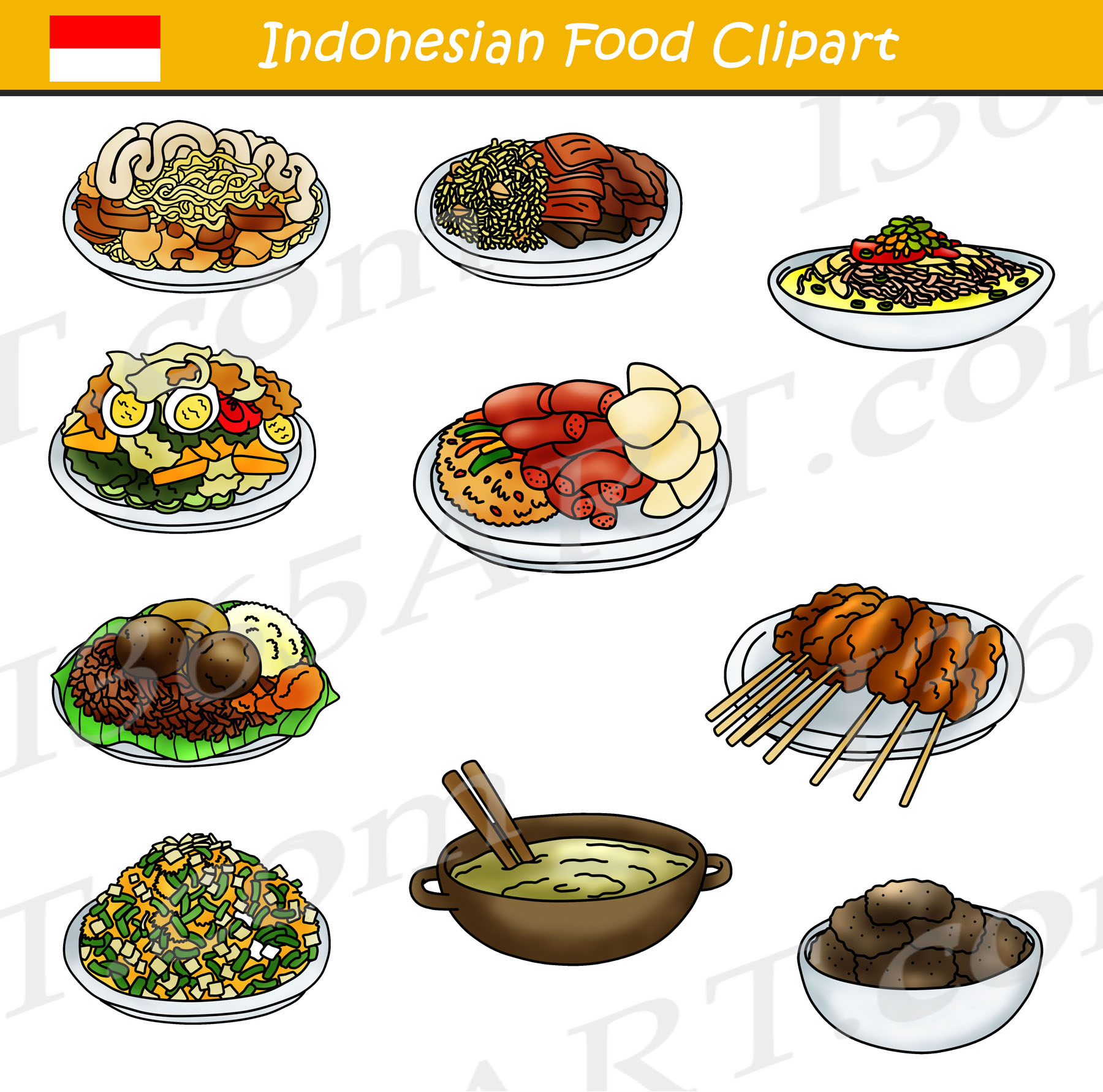 Vegetarian food images clipart picture download Indonesian Food Clipart Bundle picture download