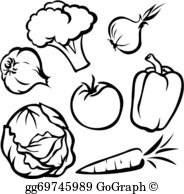 Veggie clipart outline graphic download Vegetable Outline Clip Art - Royalty Free - GoGraph graphic download
