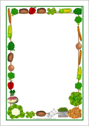 Veggie frame clipart jpg black and white download Vegetables-themed A4 page borders (SB5475) - SparkleBox ... jpg black and white download