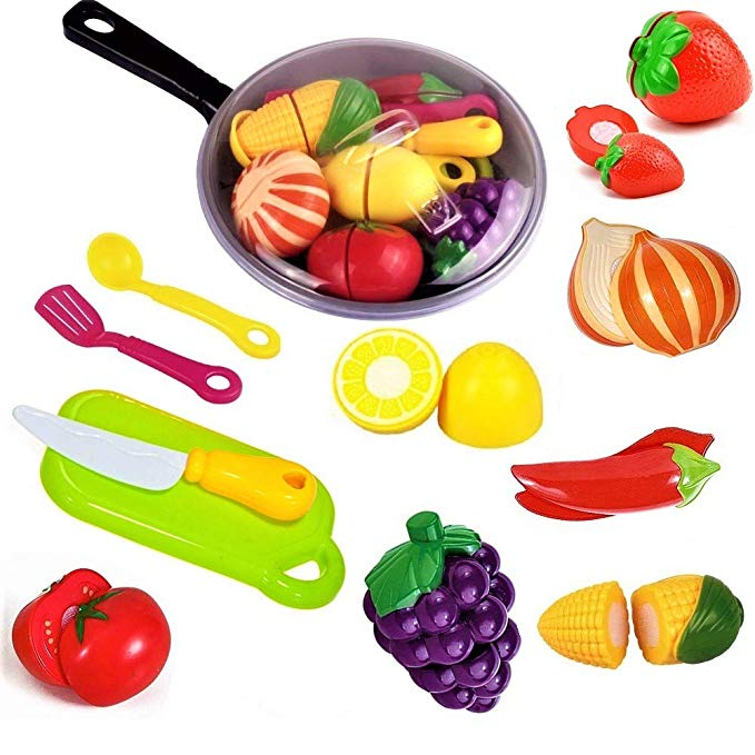 Veggies and knife clipart graphic royalty free stock FUNERICA Toy Cooking Pan with Beautiful Play Food, Cutting Toy Vegetables  and Fruits, Toy Knife and Play Kitchen Toy Utensils - Toy Kitchen ... graphic royalty free stock