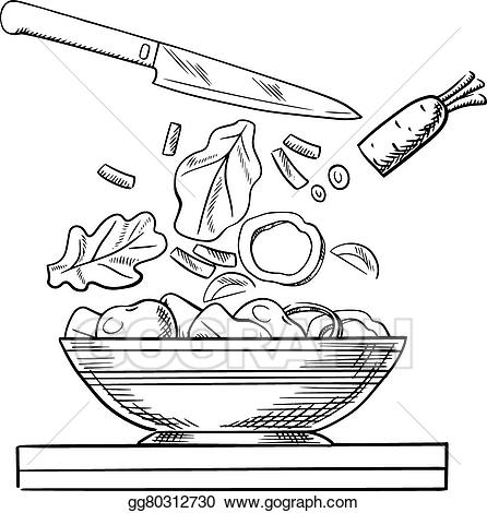 Veggies and knife clipart banner free library Vector Art - Cooking salad with fresh vegetables sketch. EPS ... banner free library