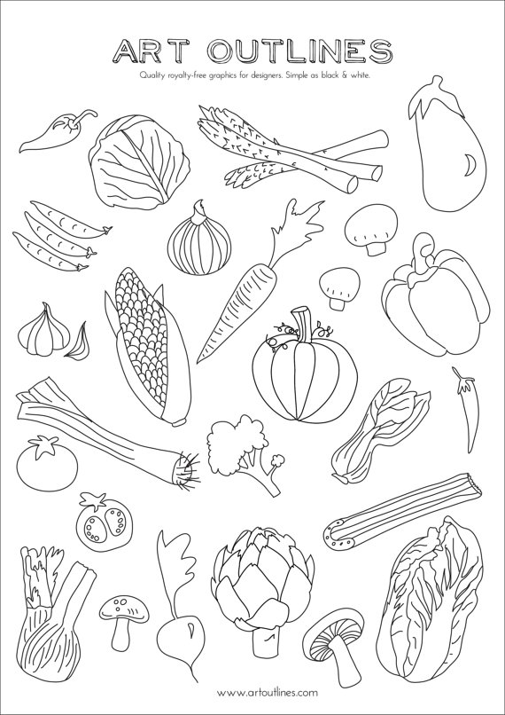 Veggies in pot black and white outline clipart clip black and white library Set of Vegetables - Art Outlines Full Page 29 Original Hand ... clip black and white library
