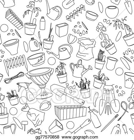 Veggies in pot black and white outline clipart clip art freeuse EPS Illustration - Seamless pattern with gardening tools ... clip art freeuse