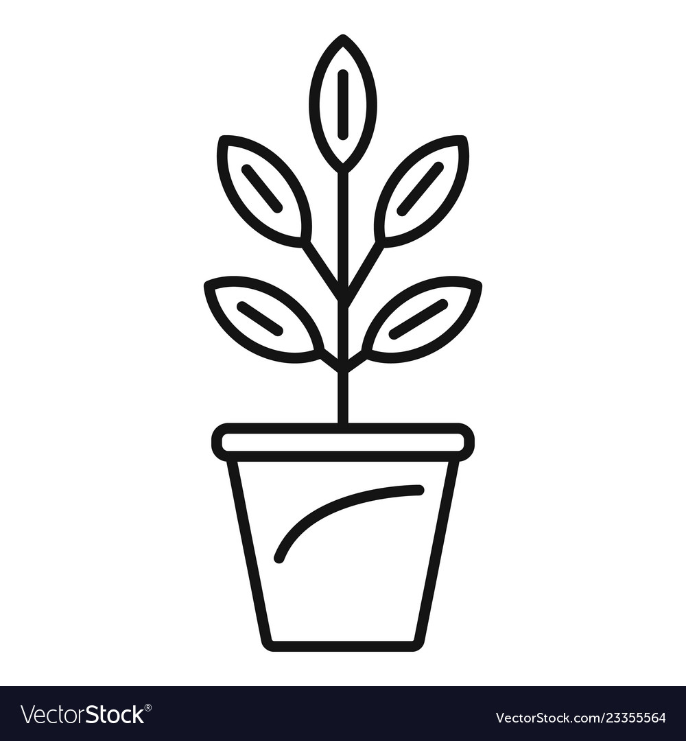 Veggies in pot black and white outline clipart clip free stock Pepper plant pot icon outline style clip free stock