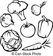 Veggies in pot black and white outline clipart clip art free download Vegetable illustration - black outline. clip art free download
