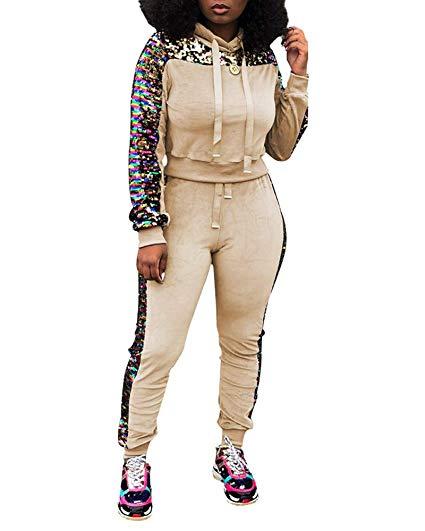 Velour tracksuit clipart banner library Adogirl Womens Glitter Sequin Velvet 2 Piece Outftis Long Sleeve Sweatshirt  Hoodie + Bodycon Pants Set Tracksuit banner library