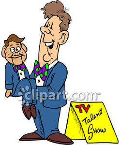 Ventriliquist clipart picture freeuse Ventriloquist and His Dummy on a T.V. Talent Show - Royalty ... picture freeuse