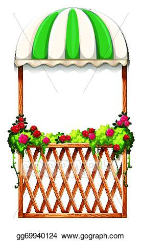 Verandah clipart picture royalty free stock Vector Illustration - A porch with umbrella-styled roof ... picture royalty free stock