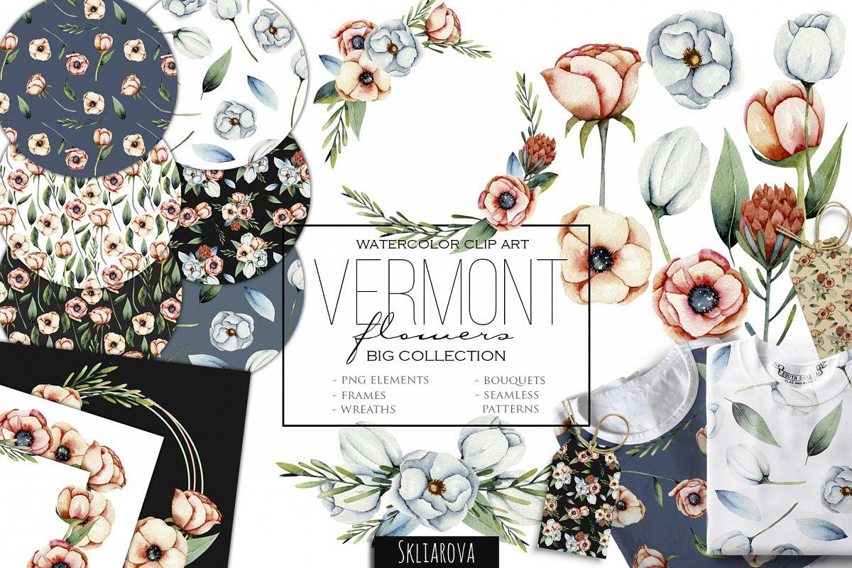 Vermont girl clipart graphic download Vermont flowers. Big floral clip art. graphic download