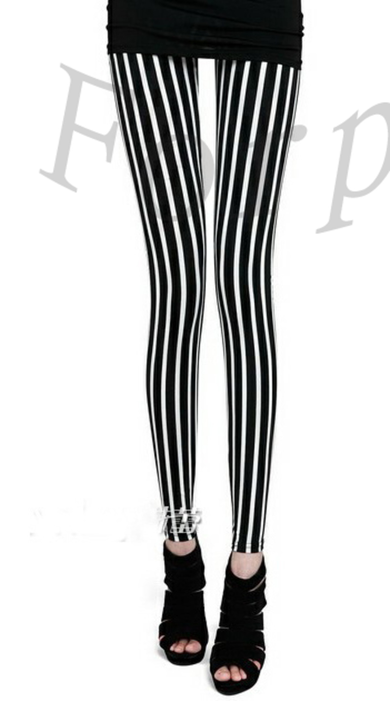 Vertical striped pants clipart png black and white Girls Punk Black White Vertical Stripe Leggings Tights Pants ... png black and white