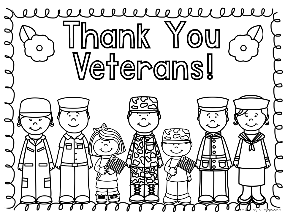 Veterans day thanks black and white clipart image black and white download Veterans Day Coloring Pages Images 2018 Printable Colouring ... image black and white download