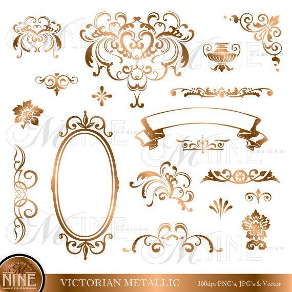 Victorian accent clipart frame image transparent BRONZE VICTORIAN Design Elements Digital Clipart, Instant ... image transparent