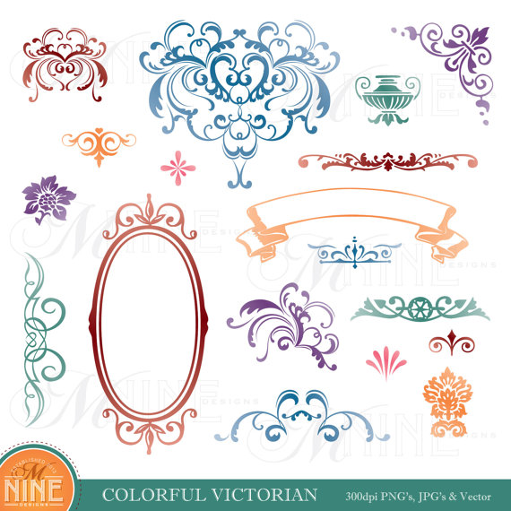 Victorian accent clipart frame clipart freeuse download Design Accent Clipart: COLORFUL VICTORIAN Clip Art Design ... clipart freeuse download