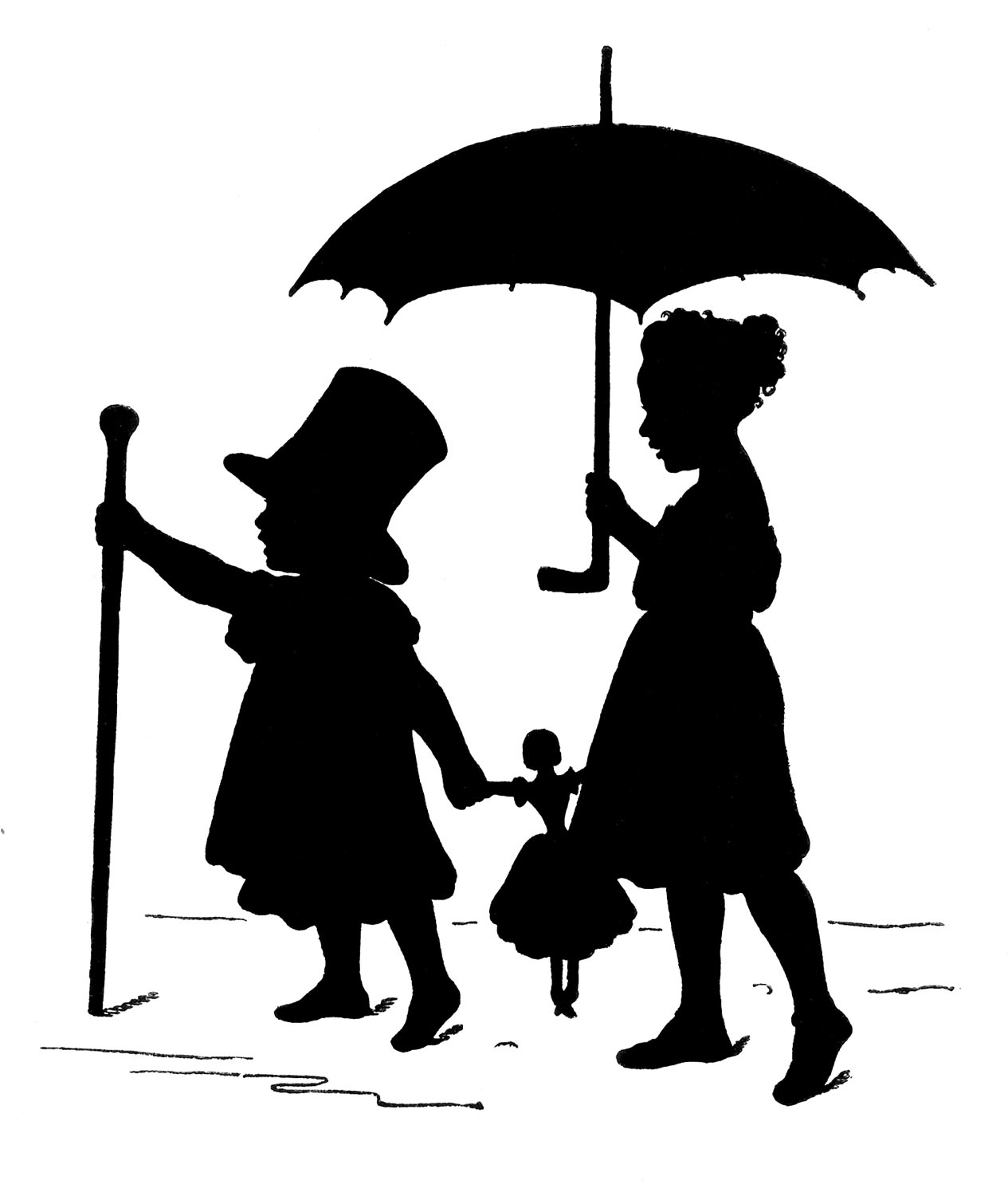 Victorian children playing silhouette clipart free image library library Vintage Graphic Silhouette - Children playing Dress Up - The ... image library library