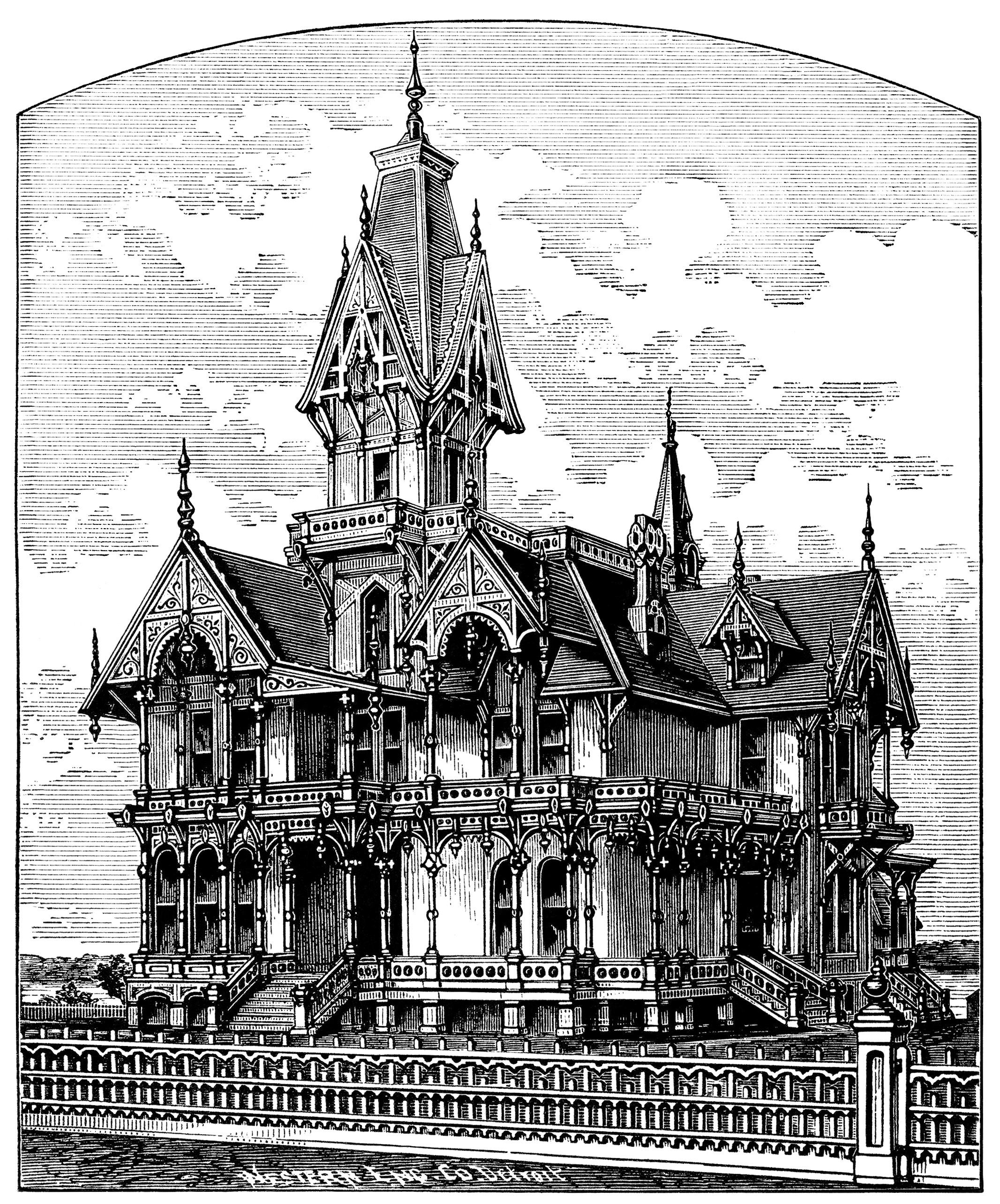 Victorian clipart building clipart library stock Victorian home clip art, haunted house illustration, spooky ... clipart library stock