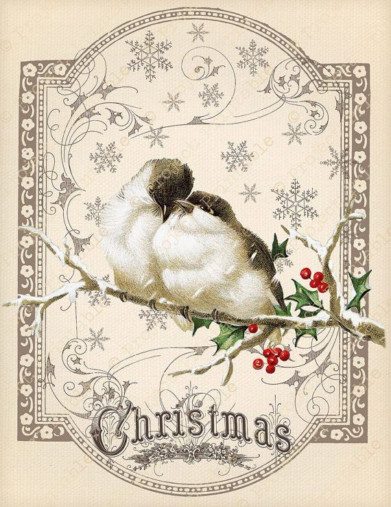Victorian clipart color banner free Instant Download Printable CHRISTMAS Love Birds in Snow ... banner free