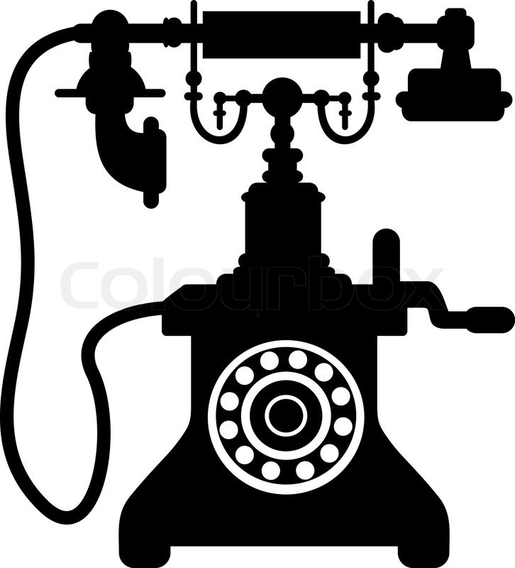 Victorian clipart crank png black and white Black and white silhouette of an old ... | Stock vector ... png black and white