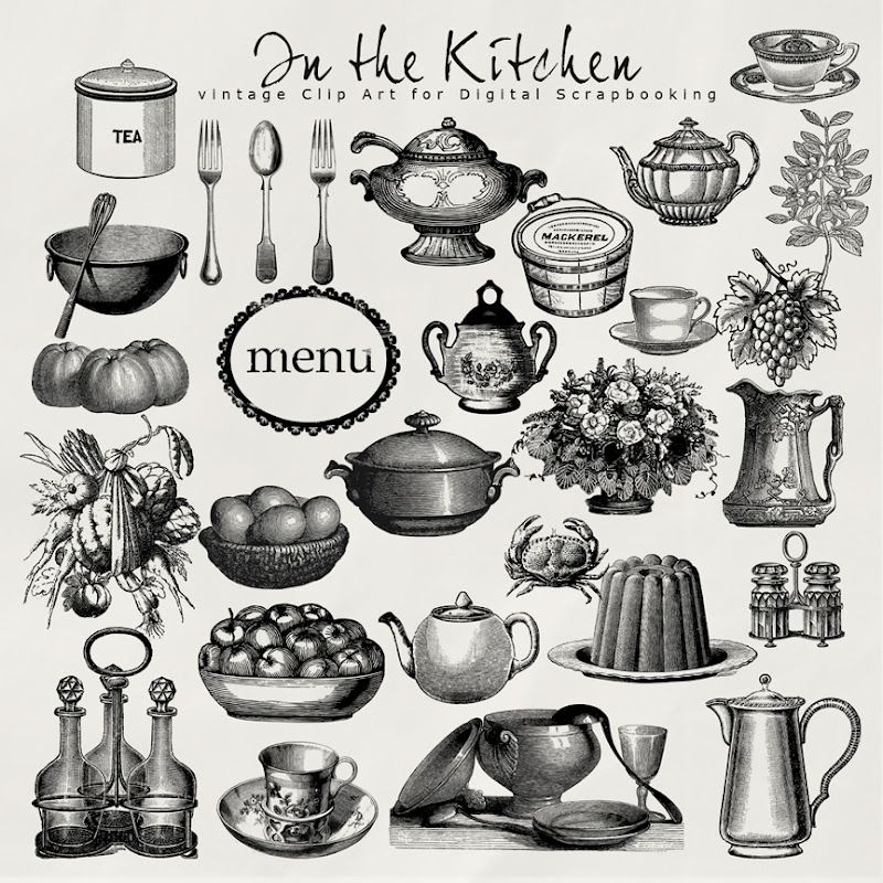 Victorian clipart newt clip library stock Vintage Cooking Clip Art | Vintage Kitchen Clip Art Free ... clip library stock
