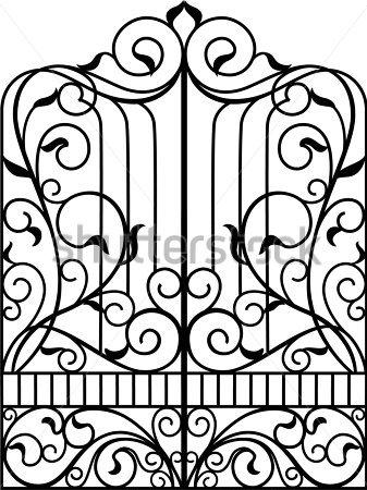 Victorian door clipart free library Victorian Iron Gate Clipart - Clip Art Library free library