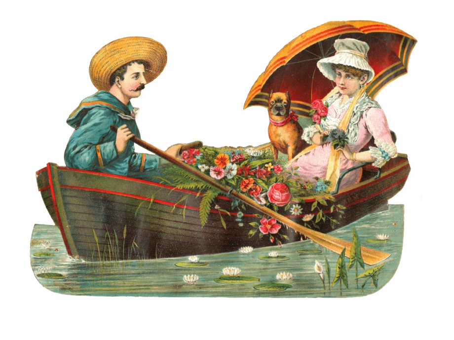 Victorian era boat clipart image transparent library Couple On A Boat With Dog Victorian Vintage - Transparent ... image transparent library