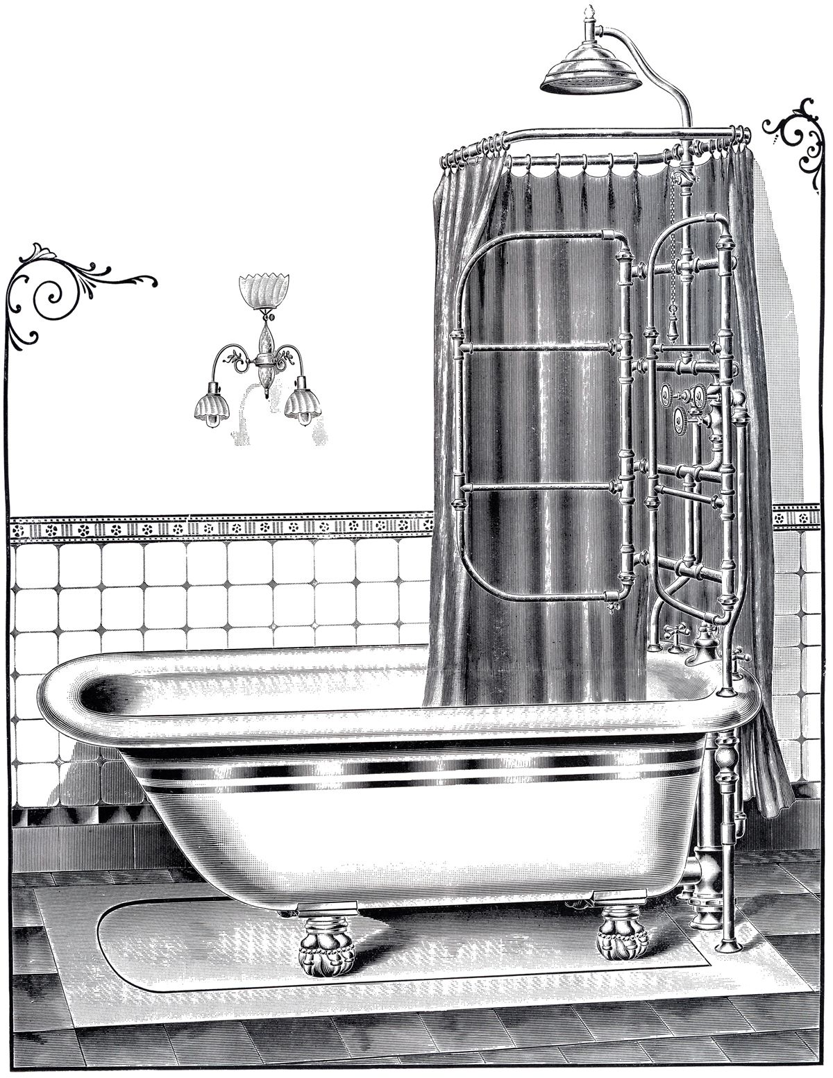 Victorian ere bathtub clipart graphic library download Vintage Bathtub Printable | Potty Break | Vintage bathtub ... graphic library download
