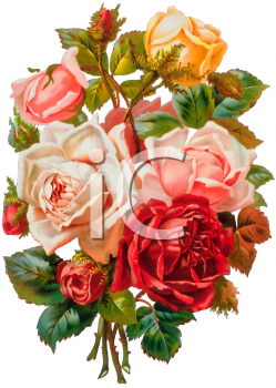 Victorian floral images jpg download Yellow and Pink Roses Bouquet Victorian Floral Clip Art - Royalty ... jpg download
