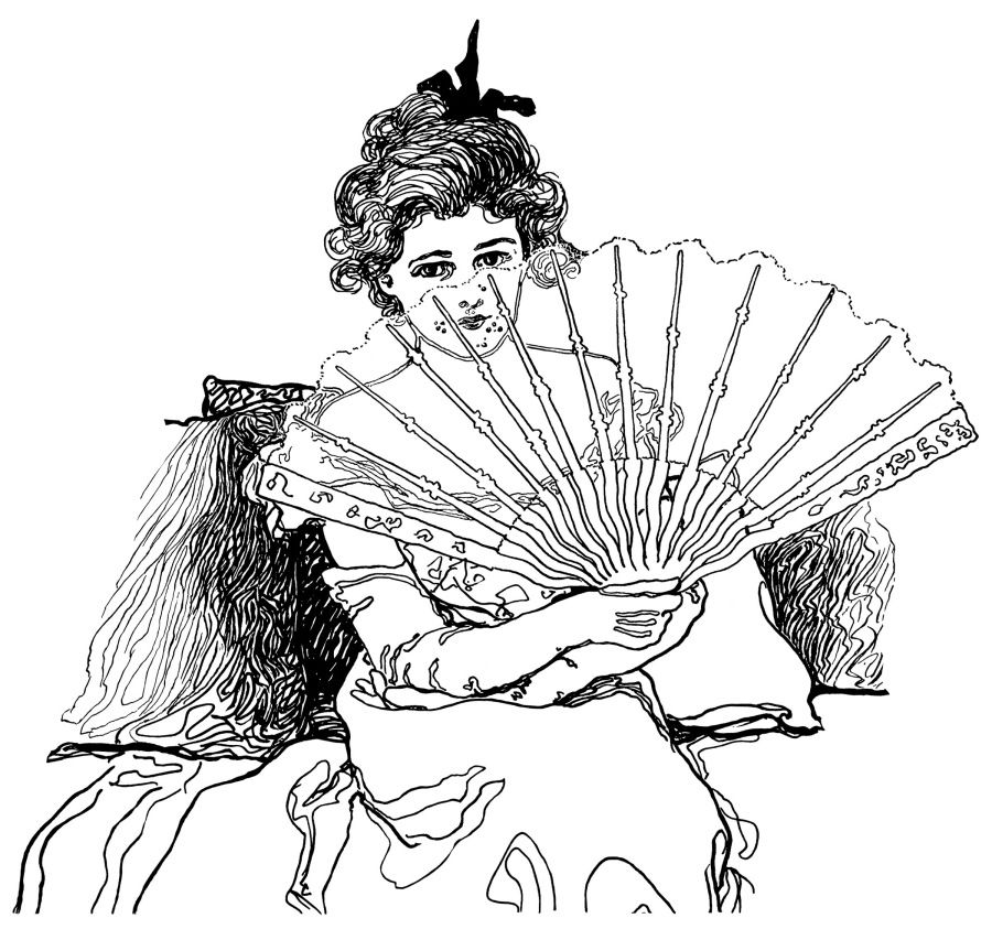Victorian hand female clipart banner library library Victorian lady, woman holding fan, black and white clip art ... banner library library
