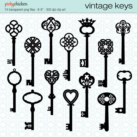 Victorian key clipart picture black and white download Vintage Keys clip art - 14 black skeleton key Celtic ... picture black and white download