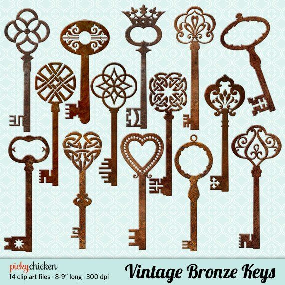 Victorian key clipart jpg black and white Vintage Bronze Keys clip art - 14 rusty metal 3D skeleton ... jpg black and white