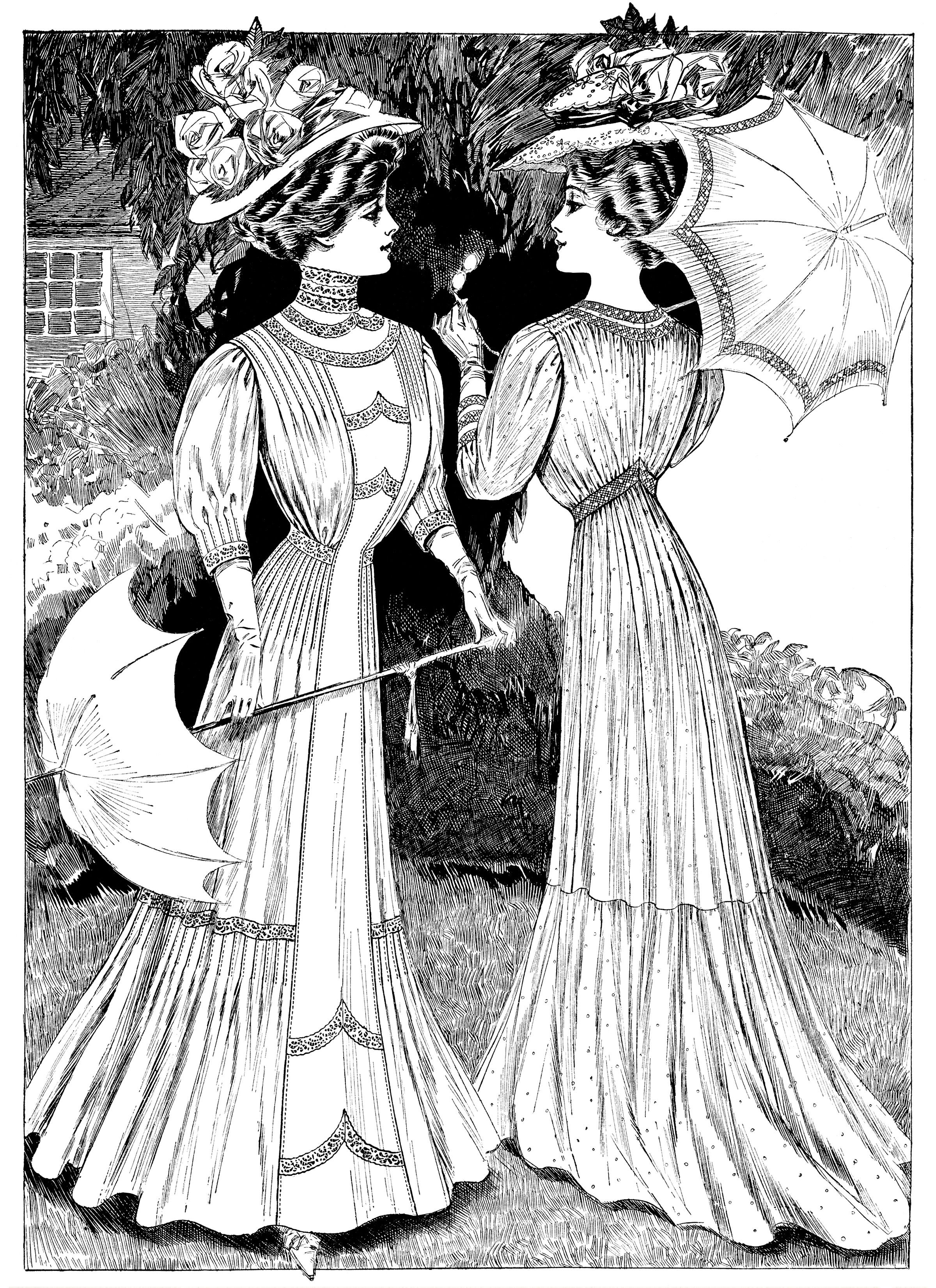 Women victorian glove clipart png library library Edwardian fashion sketch, Victorian lady clip art, lady with ... png library library