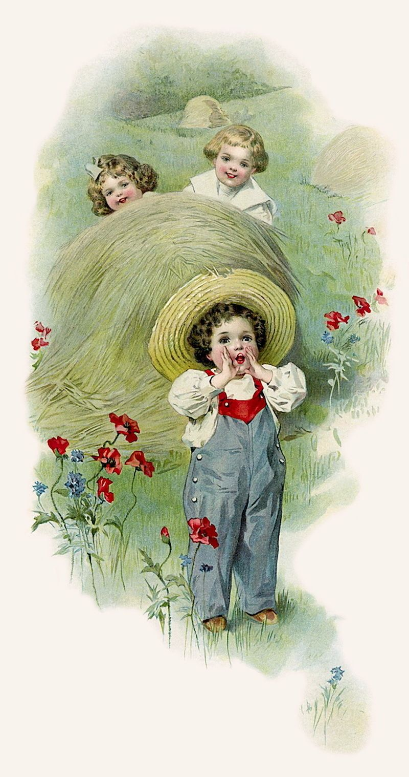 Victorian little boy playing with toys clipart freeuse LITTLE FARM BOY: Playing Hide and Seek -- illustration by ... freeuse