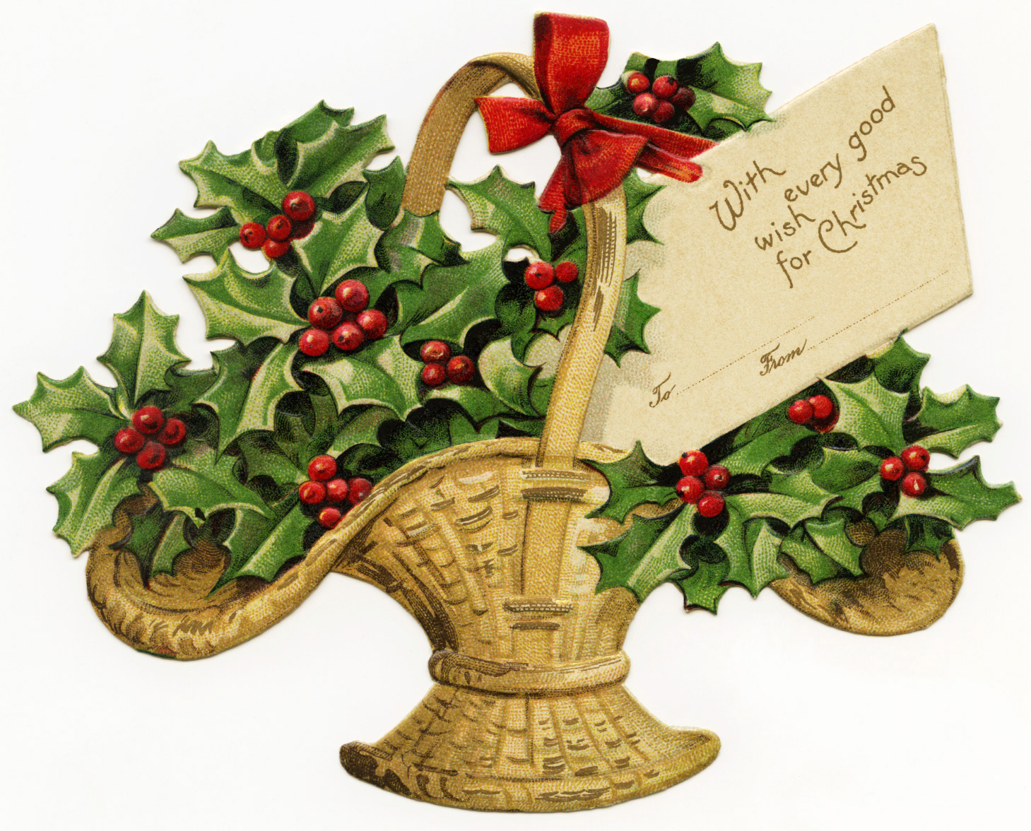 Victorian merry christmas clipart png free library Basket of Holly Victorian Clip Art - Old Design Shop Blog png free library