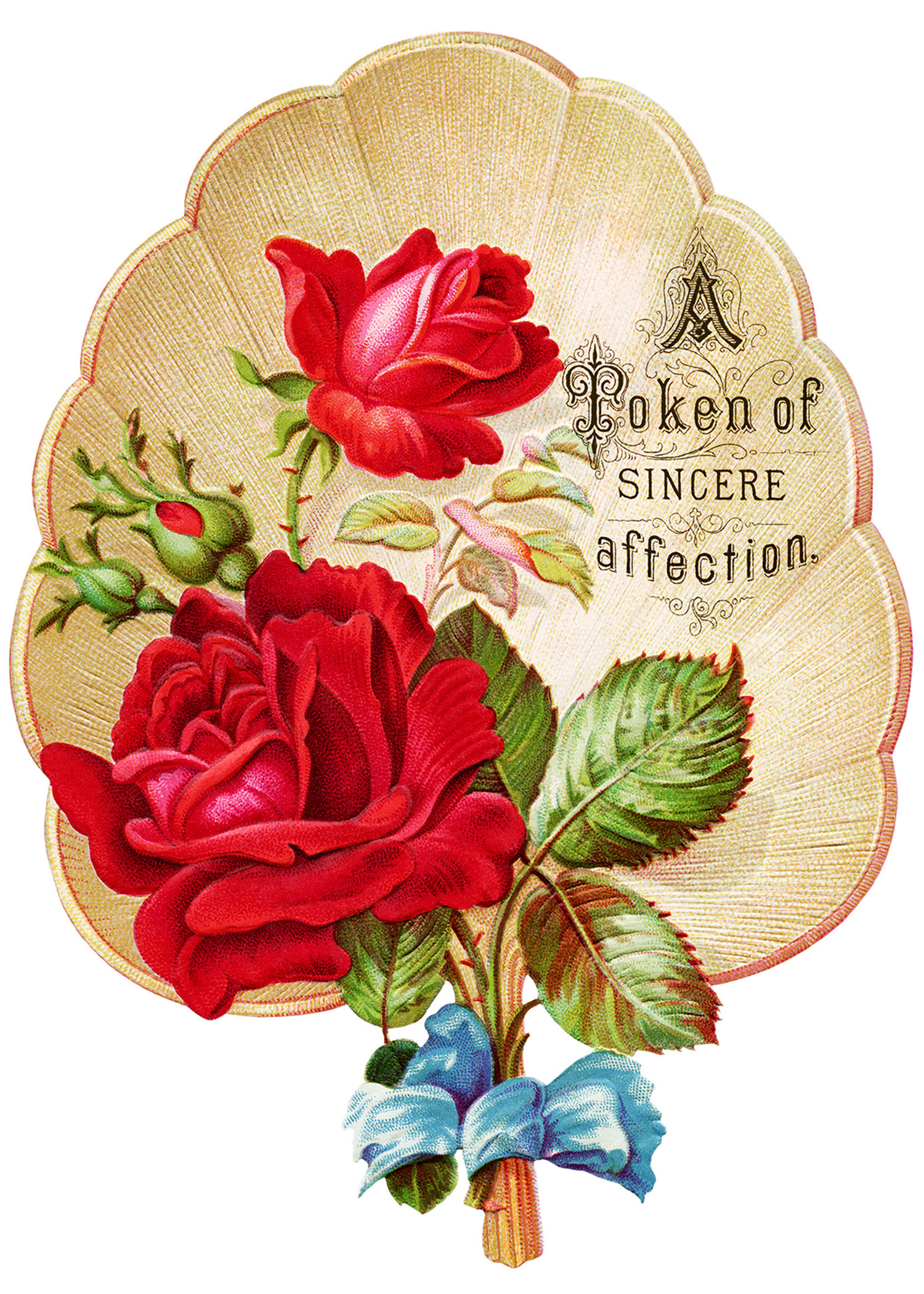 Victorian rose clipart svg library Red Roses on a Victorian Fan Clip Art - Old Design Shop Blog svg library