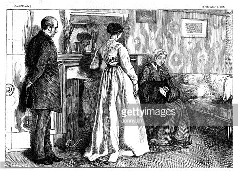 Victorian sitting room clipart banner royalty free Man and Two Women Victorian Drawing Room from 1867 Journal ... banner royalty free