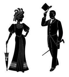 Victorian smoking stick clipart image free library Victorian Couple Silhouette | Victorian Silhouette Frame ... image free library
