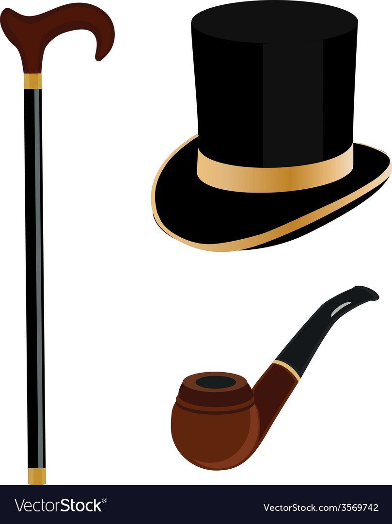 Victorian smoking stick clipart clip black and white download Cylinder smoking pipe and walking stick vector image clip black and white download