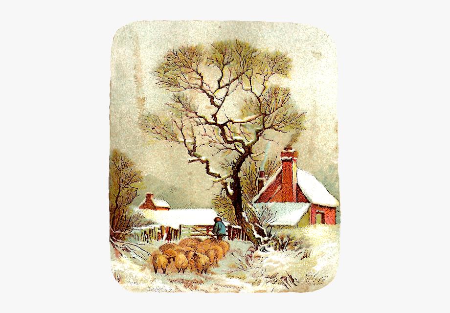 Victorian winter clipart png clip transparent download Victorian Christmas Clip Art Landscape - Free Winter Art ... clip transparent download