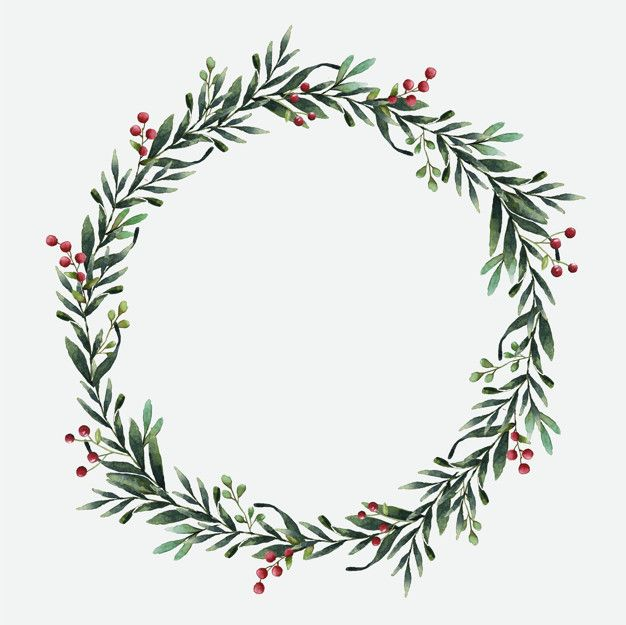 Victorian wreath clipart picture free download Round Christmas wreath vector watercolor style Free Vector ... picture free download