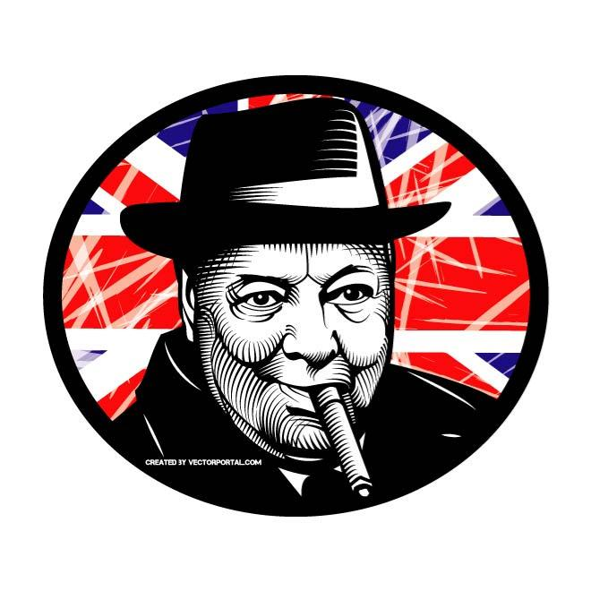 Victory churchill clipart clipart free WINSTON CHURCHILL VECTOR ILLUSTRATION - Free vector image in ... clipart free