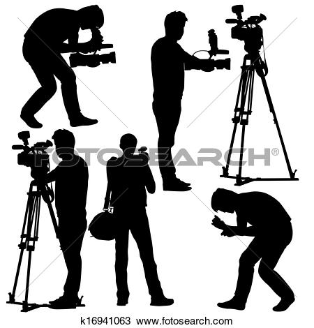 Video camera logo clipart clip art free Clipart of Cameraman with video camera. Silhouettes on white ... clip art free