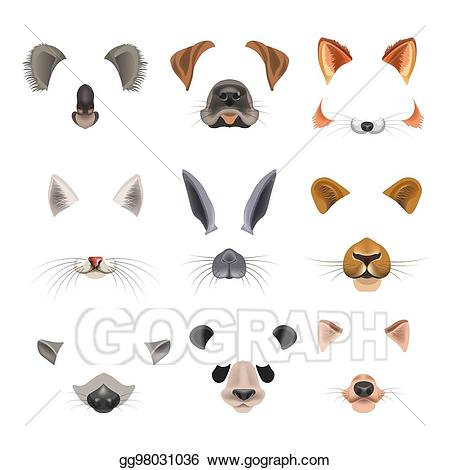Video effect clipart banner royalty free Vector Art - Video chat effects animal faces flat icons ... banner royalty free