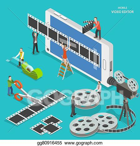 Video tapes on fire clipart banner transparent Vector Illustration - Mobile video editor flat isometric ... banner transparent
