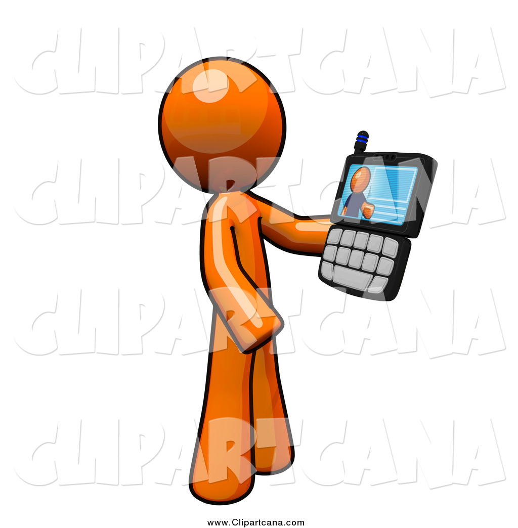 Video with cell phones clipart graphic free library Clip Art of a Orange Guy Holding a Video Chat Cell Phone by ... graphic free library