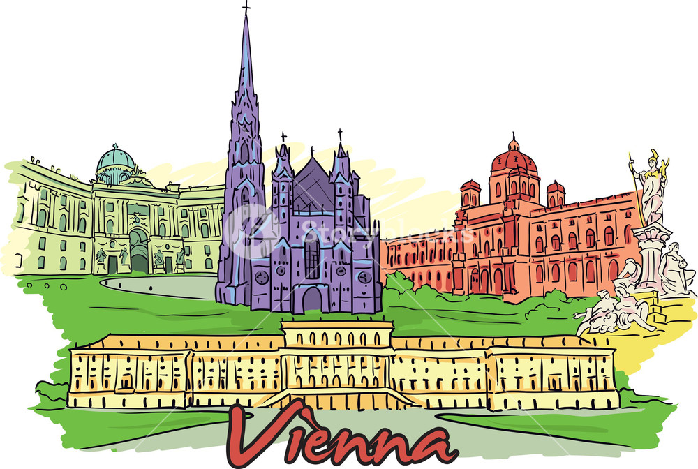 Vienna clipart graphic black and white download Vienna Vector Doodle Royalty-Free Stock Image - Storyblocks ... graphic black and white download
