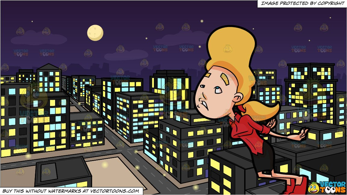 View down from building clipart vector library stock A Woman About To Fall Flat Down On The Floor and A View Of The City From A  Top Of A Building At Night Background vector library stock