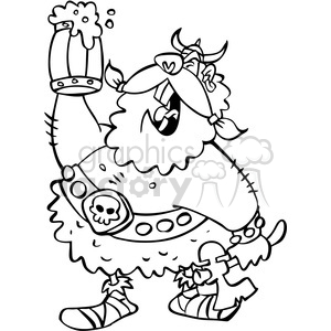 Viking beer clipart jpg transparent library cartoon viking warrior drinking beer in black and white clipart.  Royalty-free clipart # 391454 jpg transparent library